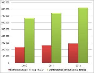 Snittförsäljning rut per år och företag 2010-2012_300